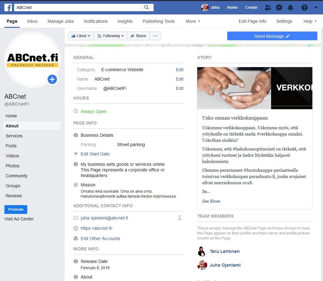 ABCnetFi Facebook sivu